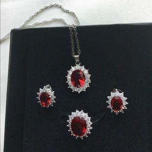 Jewelry - William & Kate Red Oval CZ Fashion Jewelry Set